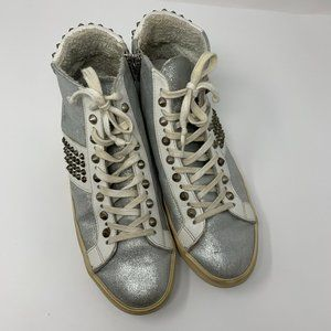 Leather Crown Silver Studded High Top Sneakers 10